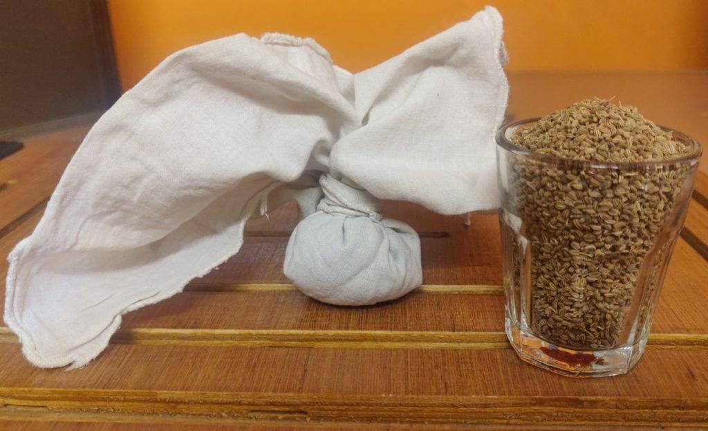 Ajwain potli made with muslin cloth